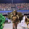 Camila Silva exibiu sua fantasia para representar o enredo da escola de samba: 'No xirê do Anhembi, a Oxum mais bonita surgiu - Menininha, mãe da Bahia - Ialorixá do Brasil'
