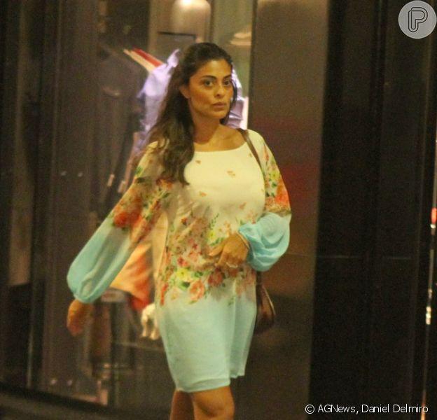Grávida de três meses, Juliana Paes passeia em shopping do Rio de Janeiro, em 11 de janeiro de 2013