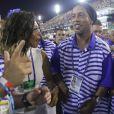 Juliana Diniz e Ronaldinho Gaúcho desfilaram pela Portela lado a lado na madrugada de terça-feira, 28 de fevereiro de 2017