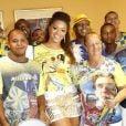 Juliana Alves é a rainha da bateria da Unidos da Tijuca e posou sorridente na feijoada da escola realizada neste sábado, 15 de fevereiro de 2014, na Barra da Tijuca