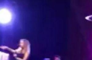 Sandy machuca braço após fã quase derrubá-la no palco durante show. Vídeo!