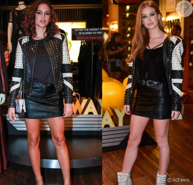 Bruna Marquezine repete jaqueta de Marina Ruy Barbosa em evento de moda