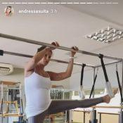 Grávida do 1º filho com Gusttavo Lima, Andressa Suita pratica pilates. Vídeo!
