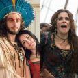 Casada com Joaquim (Chay Suede) em uma cerimônia na aldeia, Anna (Isabelle Drummond) se desespera quando Elvira (Ingrid Guimarães) revela que se era casada com ele na Europa, na novela 'Novo Mundo', em 17 de abril de 2017
