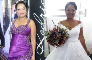 Ex-BBB Elis usa 2 vestidos em casamento repleto de colegas de confinamento.Fotos