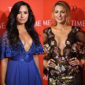 Demi Lovato e Blake Lively apostam em decote profundo para noite de gala. Fotos!