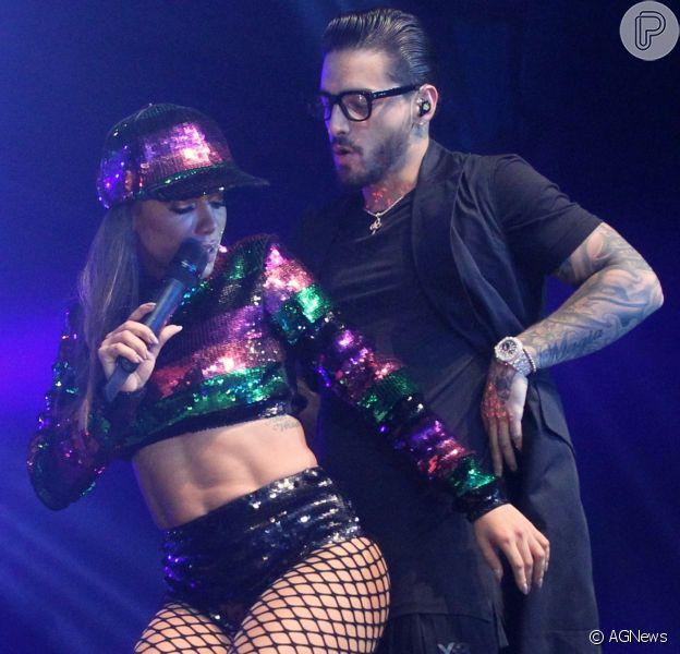 Anitta sensualiza com o colombiano Maluma em show no Rio de Janeiro