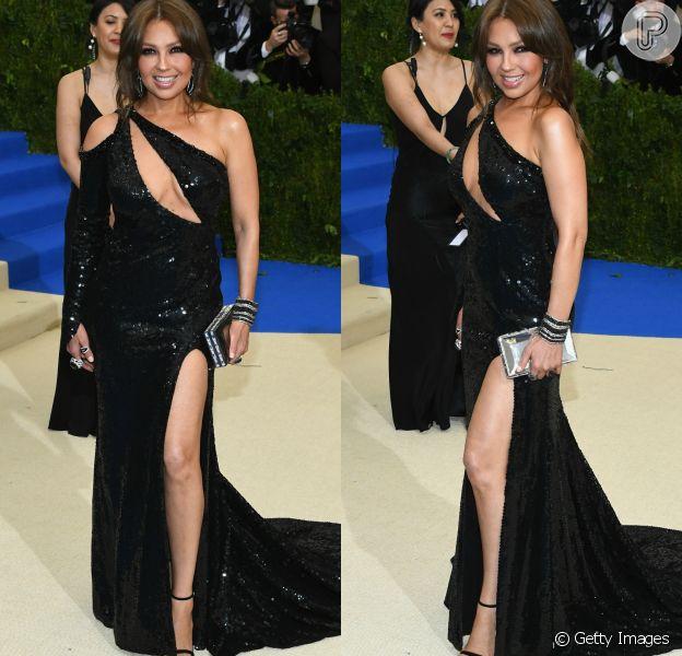 Thalía surgiu poderosa no MET Gala, realizado em Nova York, na última segunda-feira, 1º de maio de 2017