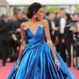 A modelo Winnie Harlow surgiu deslumbrante com um longo Zuhair Murad no segundo dia do Festival de Cannes, no Sul da França, nesta quinta-feira, 18 de maio de 2017
