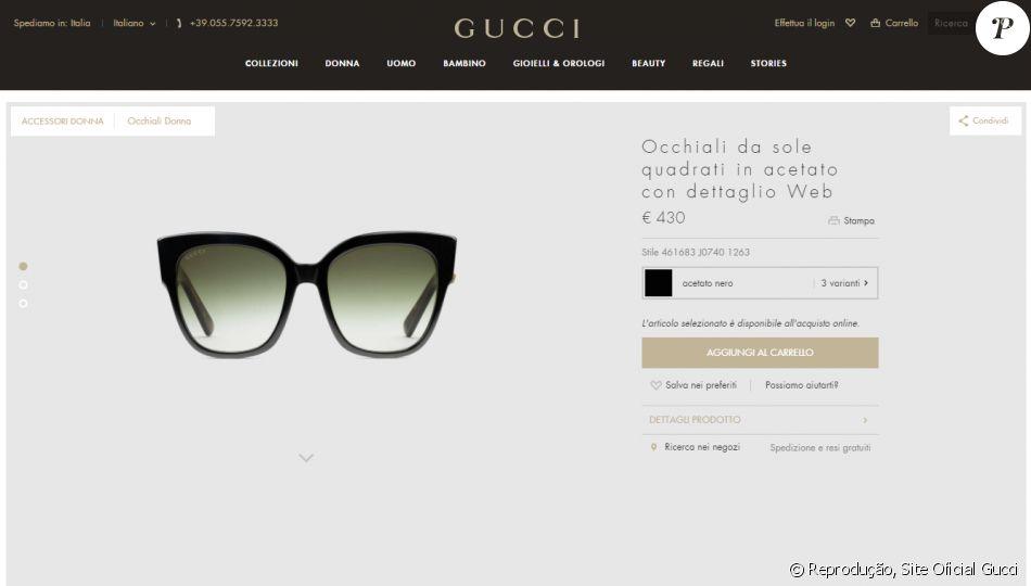 Os óculos comprados pela ex-BBB Emily são anunciados no site da Gucci no  valor de 430 euros 8a546e1dc4