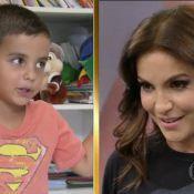 Ivete Sangalo chora com depoimento do filho, Marcelo, no Faustão: 'Te amo'