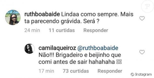 Camila Queiroz nega gravidez de Klebber Toledo: 'Comi antes de sair'