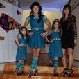 Rodrigo Faro e as filhas Maria e Clara posam vestidas de 'Chiquititas'