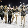 Laís Ribeiro, Adriana Lima, Carol Franceschini, Jasmine Tookes e Bárbara Fialho mostraram samba no pé na Marquês de Sapucaí