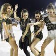As Angels Laís Ribeiro, Adriana Lima, Jasmine Tooks e Barbara Fialho sambaram na Marquês de Sapucaí neste domingo, 11 de fevereiro de 2018