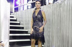 Fátima Bernardes aposta em look elegante para segundo dia de Carnaval na Sapucaí