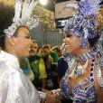 Sheron Menezzes e Bianca Monteiro se encontraram na concentração do desfile da Portela