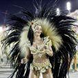 Flávia Lyra fez sua estreia à frente dos ritmistas da Imperatriz Leopoldinense no desfile da escola na madrugada desta terça-feira, 13 de fevereiro de 2018