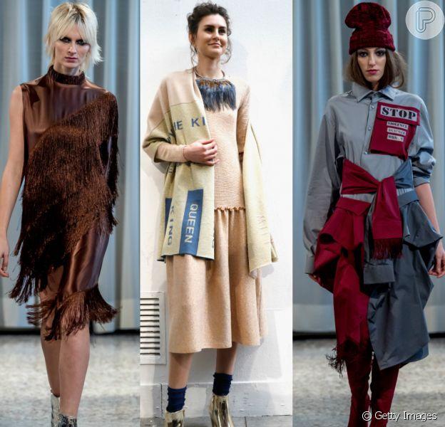 Franjas, meias e estampas feministas são destaques da Semana de Moda em Milão para o outono e inverno 2019