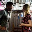 Karina (Malu Rodrigues) reclama da postura de Diego (Arthur Aguiar) e ele é firme com a mulher grávida. 'A mãe do meu filho tem que estar num pedestal', fala na novela 'O Outro Lado do Paraíso'