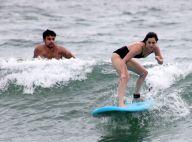 Sophia Abrahão é acompanhada por Sérgio Malheiros em aula de surfe. Fotos!