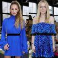 Dylan Penn e Dakota Fanning de vestidos curtos com o mesmo tom de azul para prestigiar os desfiles da Semana de Moda de Paris com coleções de outono e inverno de 2019