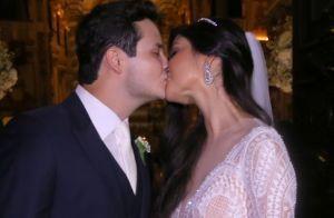 Paula Aires usa vestido modelo sereia em casamento com sertanejo Matheus. Fotos!