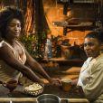 Raquel (Erika Januza) e Clara (Bianca Bin) vão pedir conselhos para Mãe do Quilombo (Zezé Motta), mas ela impede a entrada das duas alegando estar cuidando de um menino com sarampo na reta final da novela 'O Outro Lado do Paraíso'