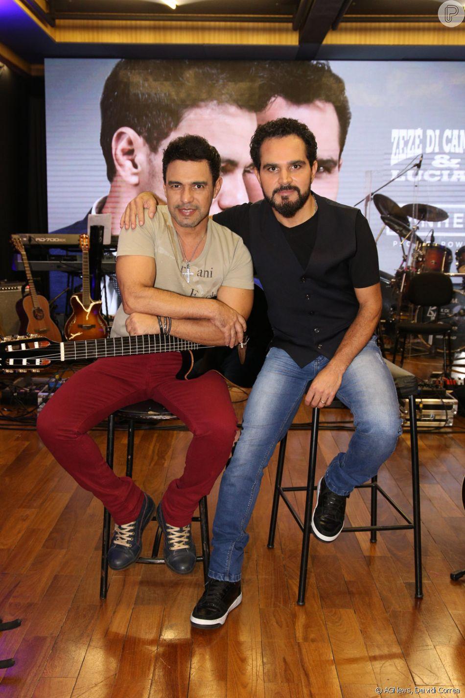 Zezé Di Camargo e Luciano lançam aplicativo voltado aos seus fãs, em São Paulo, no estúdio Mosh, na noite desta quarta-feira, 14 de março de 2018