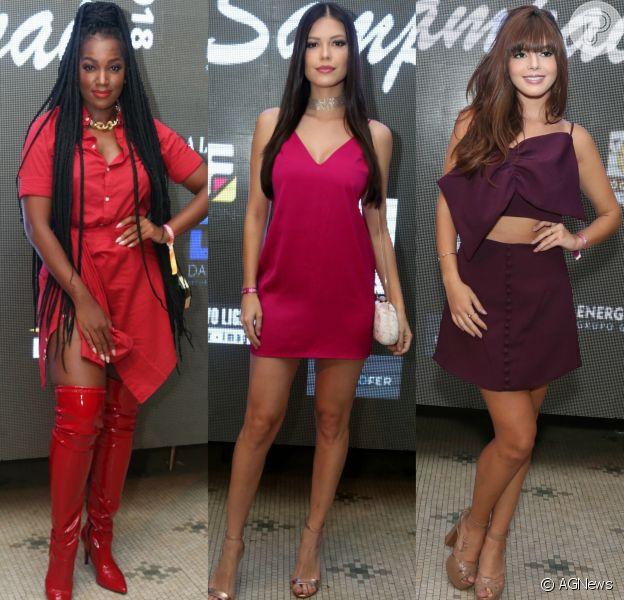 Vermelho, rosa e roxo: as cores foram aposta de Iza, Vitória Strada e Giovanna Lancellotti para a festa de aniversário de Carol Sampaio. Veja os looks da noite!