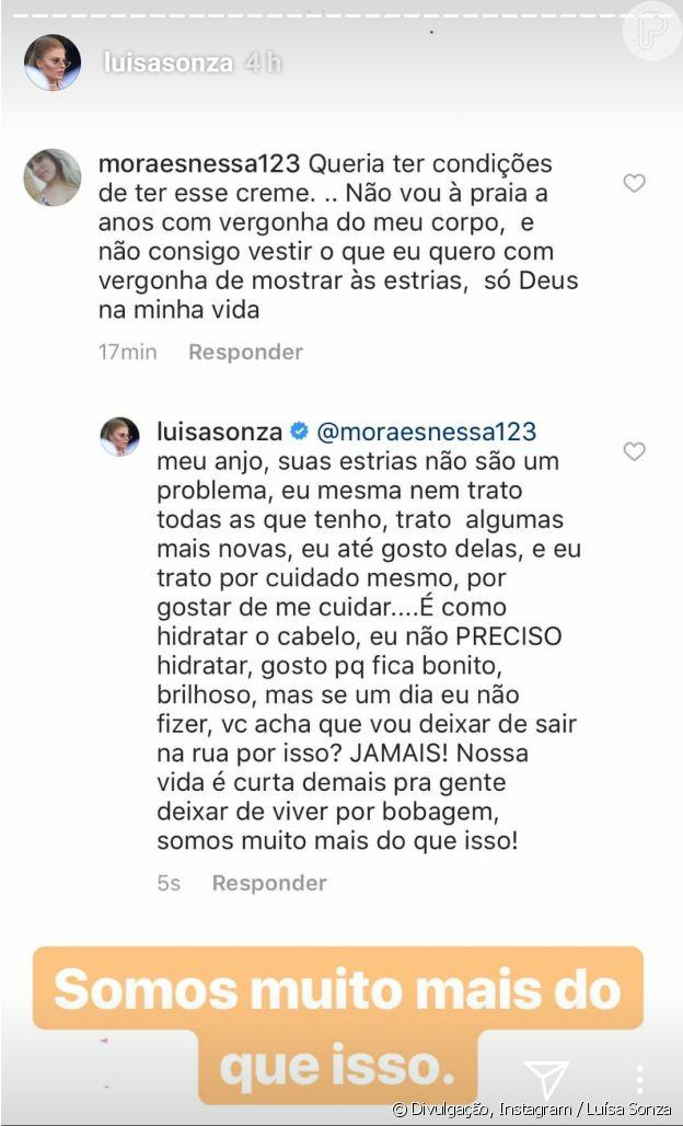 Luísa Sonza rejeitou preocupação com estrias ao responder fã na web
