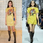 Camila Queiroz aposta em bota de tela e vestido amarelo em evento da Dior. Fotos