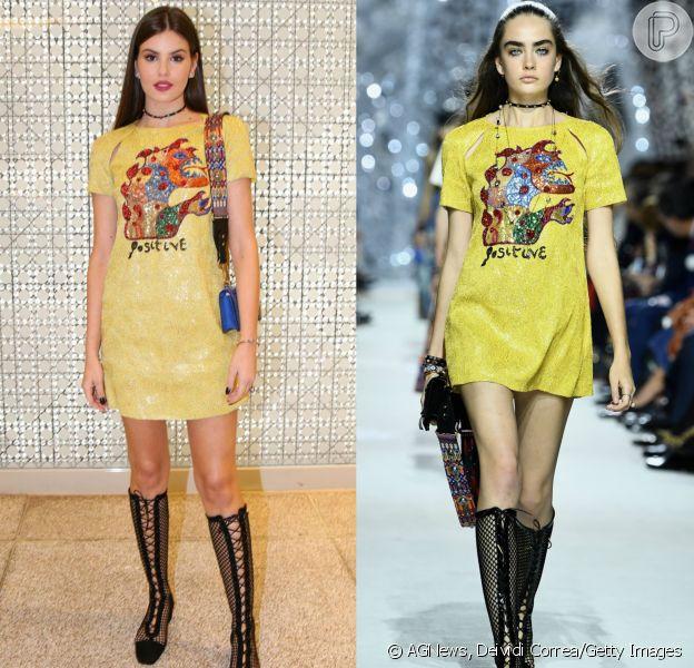 Camila Queiroz aposta em bota de tela e vestido amarelo em evento da Dior nesta quinta-feira, dia 22 de março de 2018
