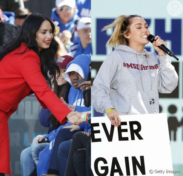 Demi Lovato e Miley Cyrus vão à marcha crítica ao mercado de armas dos EUA neste sábado, dia 24 de março de 2018