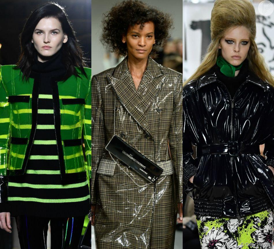 e9725a148 Semanas de moda internacionais apontam o vinil como tendência do inverno  2018