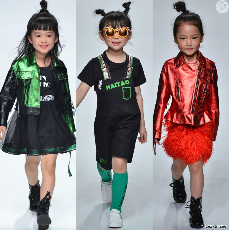 cf314f29005d3 Crianças deram show de fofura e estilo no desfile da marca Sunhaitao, na  Mercedes-