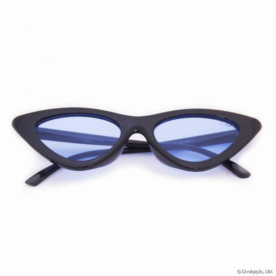 7ffb27269f31f A marca LBA traz óculos com lentes pequenas e azuis por R 99,90 no modelo  Retro Gatinho Azul 2.0