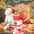 Karina Bacchi investiu em uma festa com tema Cantina Italiana para filho, Enrico