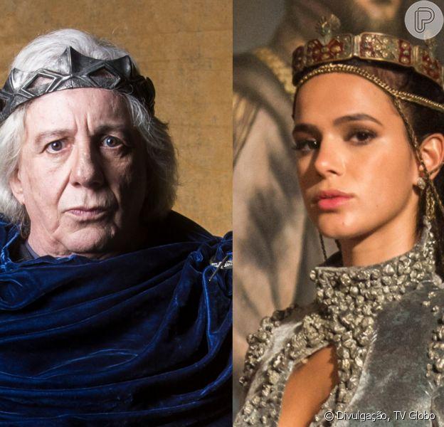 Augusto (Marco Nanini) rejeita Catarina (Bruna Marquezine) no primeiro reencontro após a vilã tê-lo mandado para a prisão nos próximos capítulos da novela 'Deus Salve o Rei': 'Não tenho mais filha!'