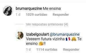 Marquezine vai para França? Izabel Goulart chama atriz de 'vizinha' no Instagram