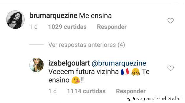 Bruna Marquezine é chamada de 'vizinha' por Izabel Goulart no Instagram