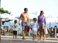 Em família! Juliana Paes curte praia com marido e filhos, Antonio e Pedro. Fotos
