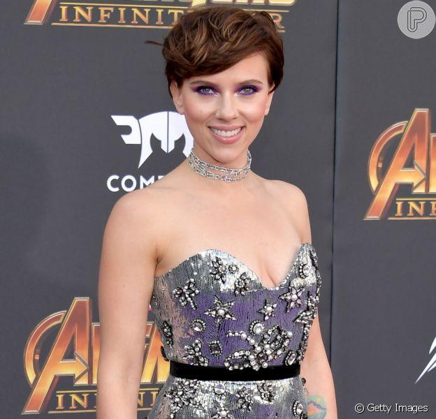 Scarlett Johansson lança o filme 'Vingadores: Guerra Infinita', em Los Angeles, nos Estados Unidos, nesta segunda-feira, 23 de abril de 2018
