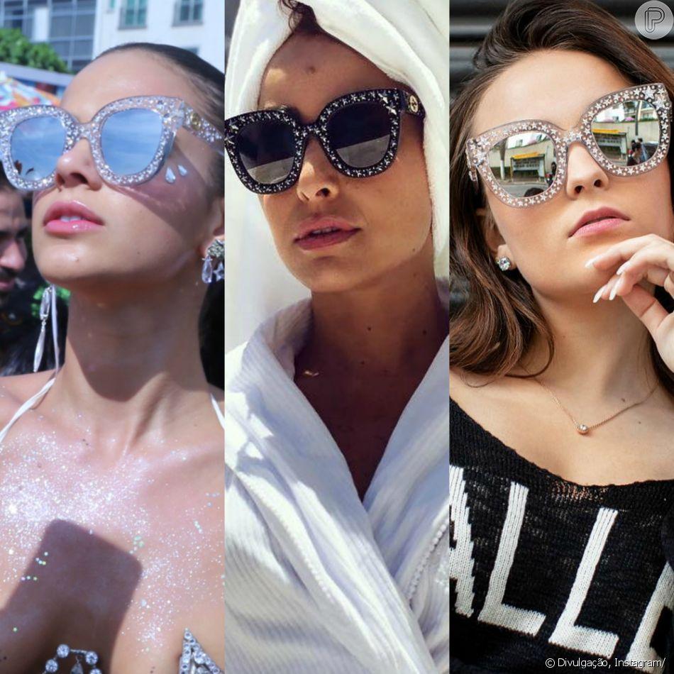 Óculos de sol Gucci com estrelas e brilho vira queridinho de famosos. Saiba  mais em c91120e4ce