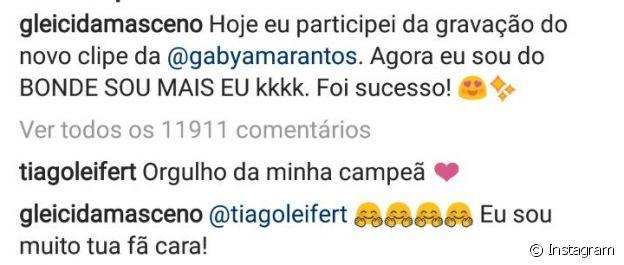 Tiago Leifert comemorou a participação de Gleici no clipe de Gaby Amarantos: 'Orgulho da minha campeã'