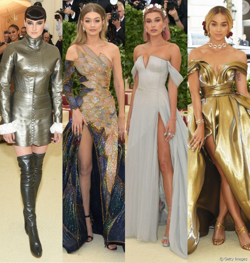 Famosas usam looks metalizados, com caudas e fendas no Met