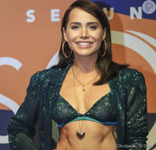 Leticia Colin exibe barriga sarada ao lançar novela 'Segundo Sol', no Circo Voador, no Rio de Janeiro, nesta terça-feira, 7 de maio de 2018