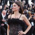 Penélope Cruz combina plumas e transparência no Festival de Cannes