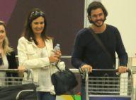 Fátima Bernardes e Túlio Gadêlha desembarcam no Rio após premiação nos EUA