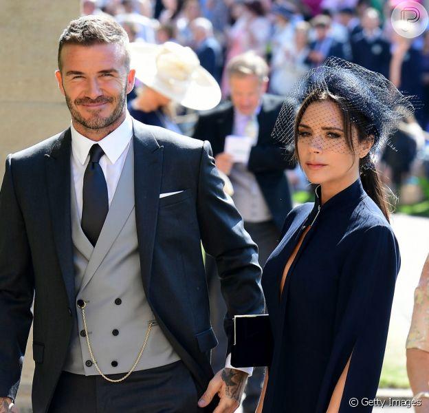 David Beckham levou a mulher, Victoria Beckham, ao casamento do príncipe Harry com Meghan Markle, neste sábado, 19 de maio de 2018